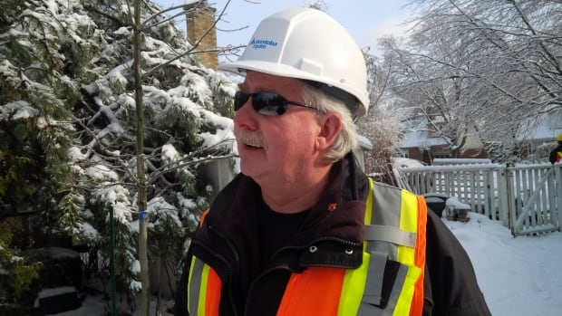 Warren Helgason is one of 42 Manitoba Hydro workers who are in Ontario trying to restore power following last weekend's ice storm.