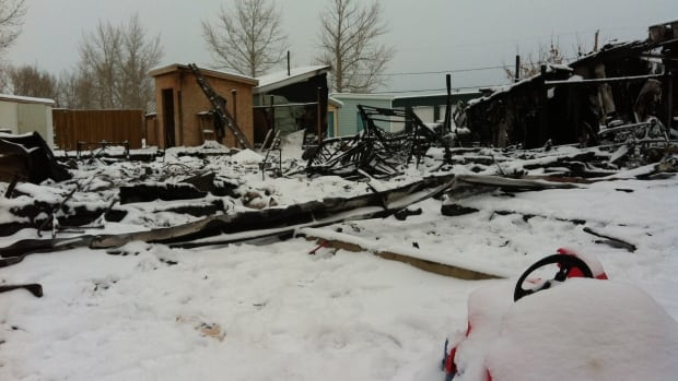 The Caron family barely escaped their home in the village of Cochin, Sask. after it caught fire on Sunday.