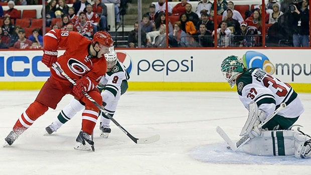 Carolina Hurricanes' Jiri Tlusty, left, scores on Minnesota Wild goalie Josh Harding during a game in Raleigh, N.C on November 9, 2013.