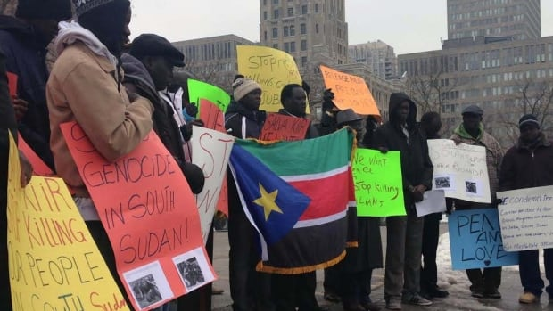 Members of the South Sudanese community in Toronto, and others from as far away as Windsor, held a demonstration at Queen's Park on Saturday calling for a peaceful end to recent violence in their native country.