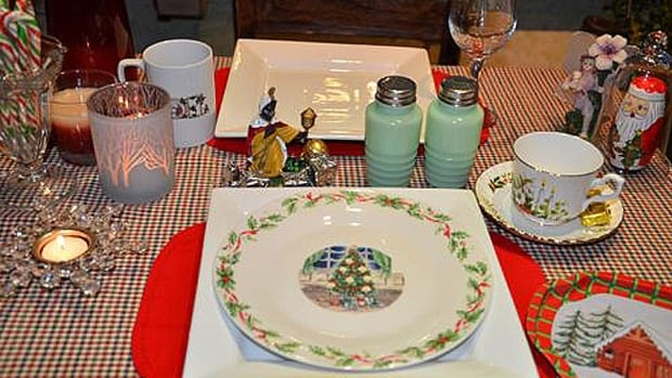 A Christmas tea setting at Grandma's Team Room.