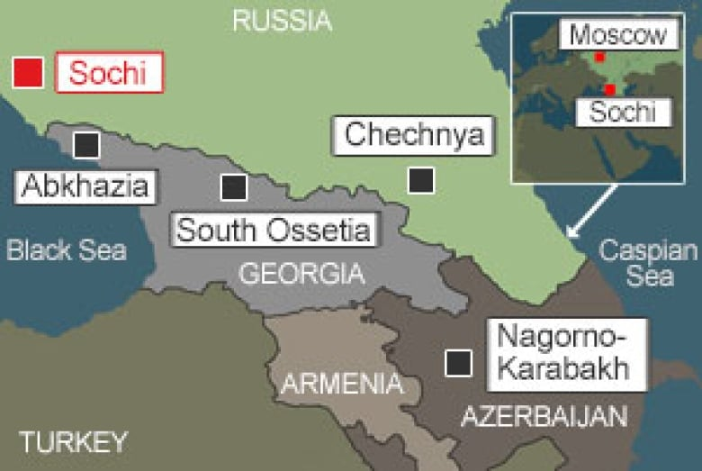 Russia's Caucasus: A history of unrest | CBC News on turkistan on world map, altai on world map, sinkiang on world map, sovetsk on world map, yugoslavia on world map, chernobyl on world map, corsica on world map, kosovo on world map, iran on world map, namibia on world map, thailand on world map, the persian gulf on world map, dome of the rock on world map, abkhazia on world map, yemen on world map, south korea on world map, myanmar burma on world map, map of middle east on world map, finland on world map, bosnia-herzegovina on world map,