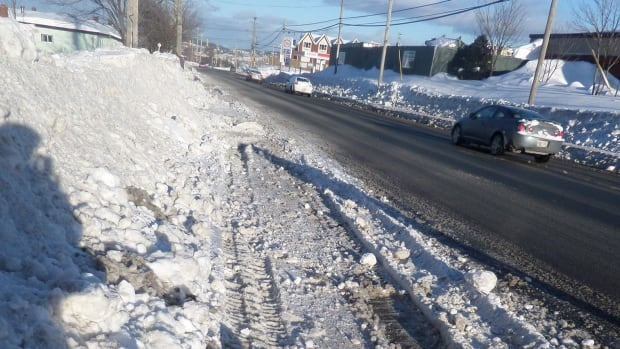 A section of sidewalk on Empire Ave. in St. John's after city workers cleared snow. David Coish says the city isn't doing enough to ensure there is a safe area for pedestrians to walk.