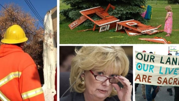 Clockwise from left, stories about giant icicles, a little girl with a smashed playhouse, Idle No More and Sen. Pamela Wallin all attracted many thousands of readers.