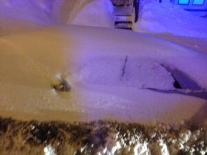 Snowbound car