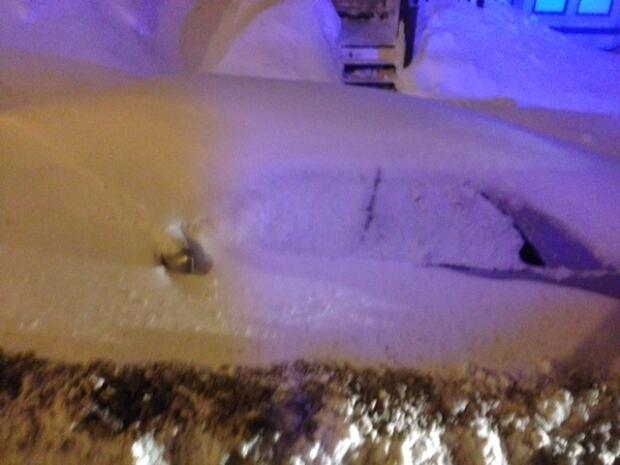 Snowbound car
