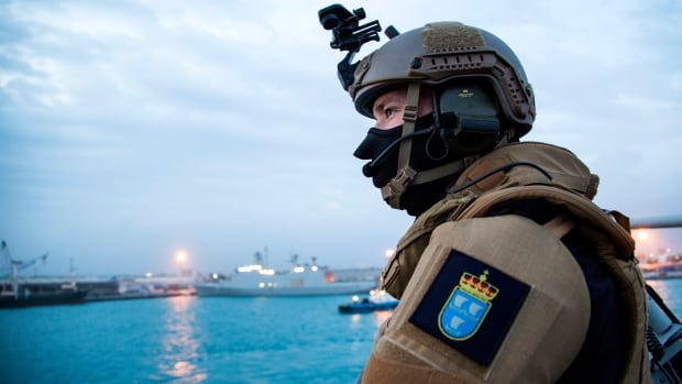 A security forces member stands guard aboard a Danish-Norwegian flotilla in Cyprus that is preparing to remove Syria's chemical weapons.