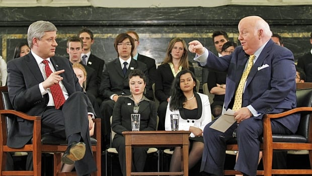 Stephen Harper and Conservative Senator Mike Duffy participate in a G8/G20 National Youth Caucus on Parliament Hill in 2010, when they were still on speaking terms.