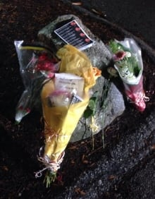 Flowers and messages left for Julie Paskall at Newton Arena