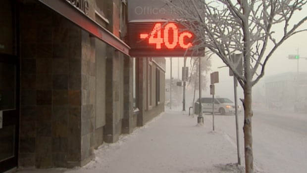 -40 weather sign in Yellowknife
