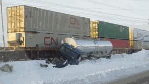 A train hit a tractor trailer in Sackville Jan. 2