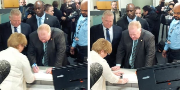Rob Ford files papers for re-election