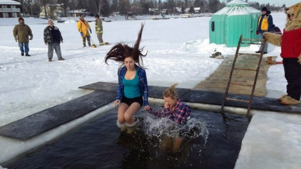 Volunteers in Fort Frances collected pledges for charity before taking the leap in the icy waters of Rainy Lake.