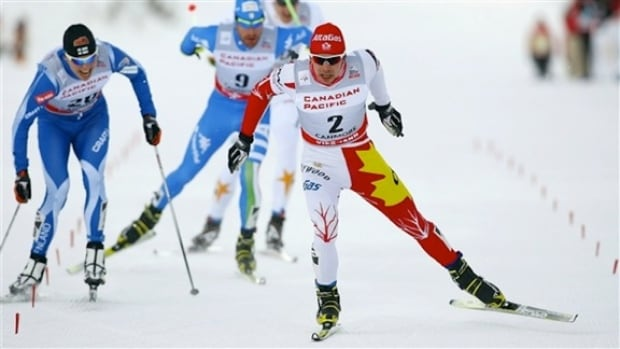 Jesse Cockney races in the 2012 World Cup Skate Sprint held at the Canmore Nordic Centre.