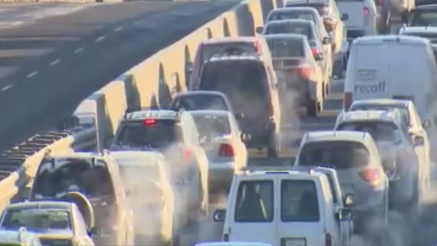 a multi-vehicle crash brought westbound traffic on Toronto's Gardiner Expressway to a standstill near Dufferin Avenue.