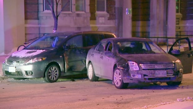 A stolen car was abandoned at Broadway and Donald after being involved in a crash Thursday night.