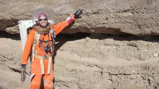 A crew member from a previous mission poses in the Utah desert while taking part in a Mars Desert Research Station expedition. Ottawa's Elizabeth Howell is spending two weeks at the facility.