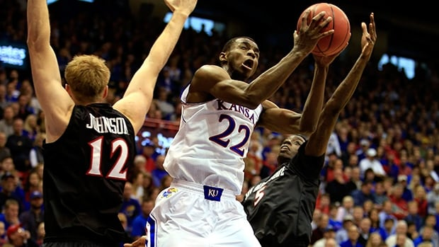 Andrew Wiggins of the Kansas Jayhawks shoots during the game against the San Diego State Aztecs at Allen Fieldhouse on January 5, 2014 in Lawrence, Kansas.