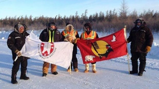 Paul Mattinas, Remi Nakogee, Brian Okimaw, and Danny Metatawabin and helper Rodney Hookimaw, on the trek from Attawapiskat to Ottawa.