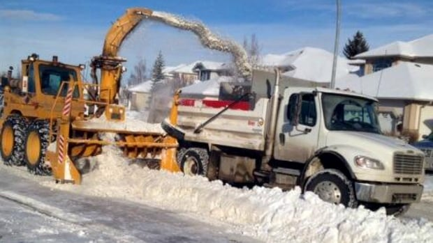 Snow plowing streets