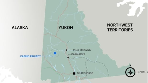 Western Copper and Gold says a mine at its Casino property, located 380 kilometres northwest of Whitehorse, could produce more than 400,000 ounces of gold annually and more than 200 million pounds of copper.