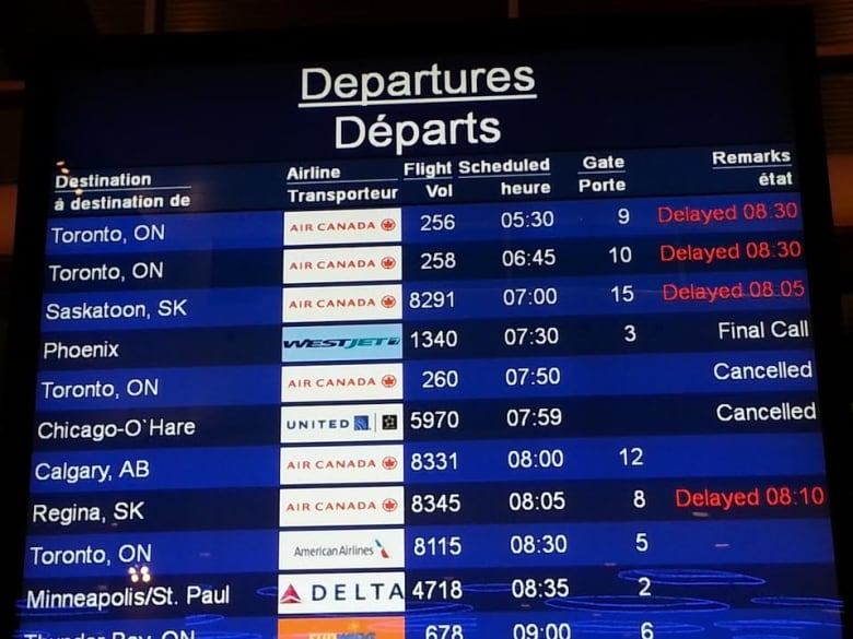 The Departure Board At Winnipeg S Airport Showed A List Of