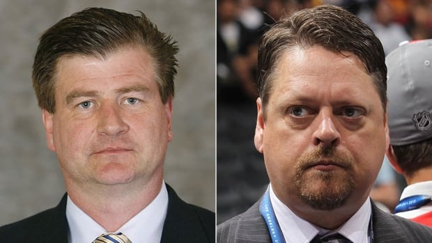 Bruins assistant general manager Jim Benning, left, and Senators assistant GM Tim Murray reportedly are among the four finalists for the GM vacancy in Buffalo.