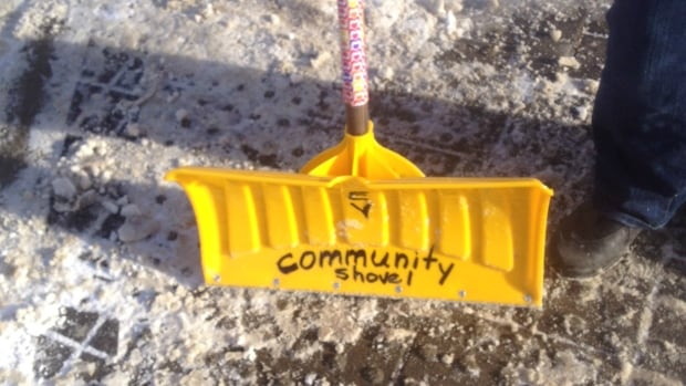 One of the community snow shovels stolen from Calgary's East Village.