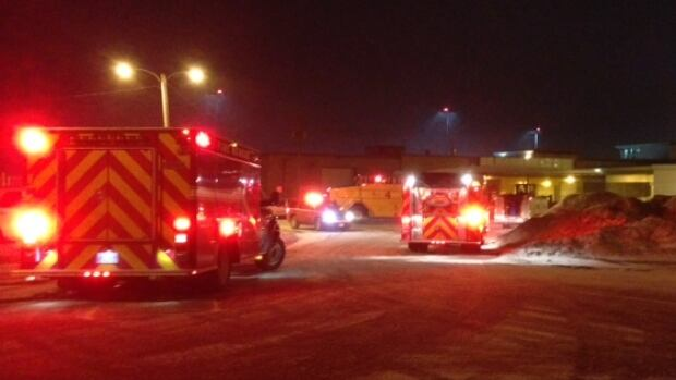 Firefighters were called to St. John's International Airport after a snowplow hit a large propane tank.