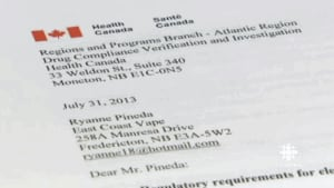 Health Canada has ordered Ryanne Pineda to stop selling e-cigarettes