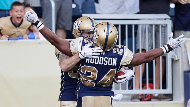 Argos' running back Anthony Woodson, seen here with the Winnipeg Blue Bombers, also spent time in the NFL with the Houston Texans, Washington and Denver Broncos.