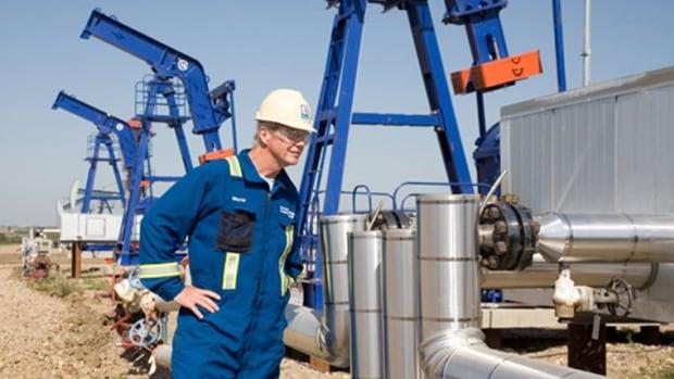 A Husky Energy employee at Bolney/Celtic Oil Battery in the Lloydminster area of Saskatchewan.