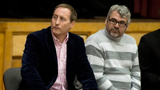 Justice Minister Peter MacKay, left, and Glen Canning, father of the late Rehtaeh Parsons, attend a news conference at Fairview Junior High School in Halifax on Jan. 9, 2014. MacKay announced a national campaign to stop cyberbullying.