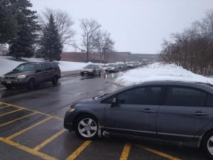 Cars leaving