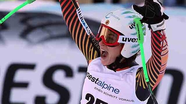 Canada's Larisa Yurkiw celebrates after a career-best sixth place finish in the World Cup women's downhill in Altenmarkt Zauchensee, Austria., on Saturday.