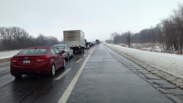 Icy conditions stopped traffic on New Brunswick's TransCanada Highway Saturday afternoon.