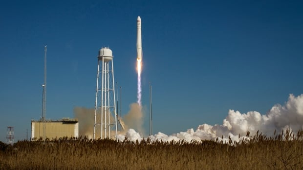 An Orbital Sciences Corporation Antares rocket is seen as it launches from Pad-0A at NASA's Wallops Flight Facility at Wallops Island, Virginia Jan. 9, 2014. Antares is carrying the Cygnus spacecraft on a cargo resupply mission to the International Space Station.