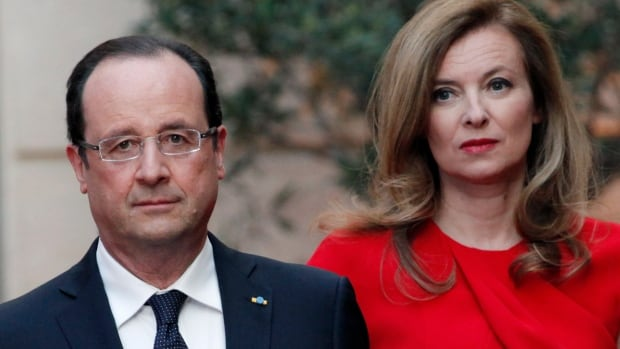 François Hollande's partner Valerie Trierweiler, seen beside the French president, remains hospitalized to recover from the shock after a tabloid reported about Hollande's affair with an actress.