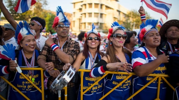 Thai anti-government protesters, dressed up in national flags, stand during a rally at the Democracy Monument in Bangkok, Sunday, Jan. 12, 2014.
