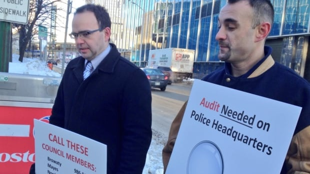 Colin Craig (left) of the Canadian Taxpayers Federation and Dave Sauer of the Winnipeg Labour Council joined forces on Monday to demand an audit of the new police headquarters construction.