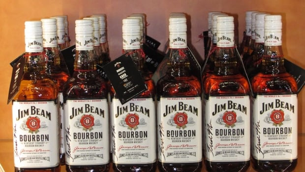 Jim Beam products are shown at a visitors' center for thecentral Kentucky distillery. Beam has been bought by Japan's Suntory for $13.6 billion US.