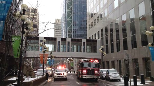 Emergency crews were called to a highrise building just before 9 a.m. MT in downtown Calgary for reports of loose flashing hanging from the 41st floor.