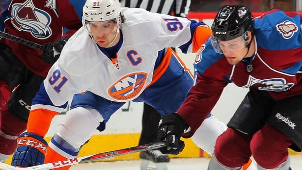 The Islanders' John Tavares, left, was held off the scoresheet by John Mitchell, right, and the Avalanche last week, but still managed four goals and 10 points in four games to capture NHL first star of the week honours.
