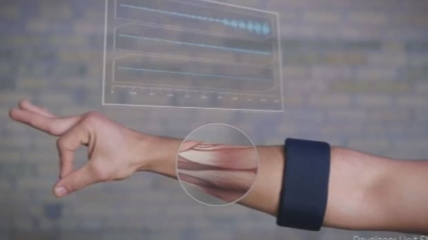 The MYO wearable band from Thalmic Labs controls electronic devices through the signals in the muscles of the forearm.
