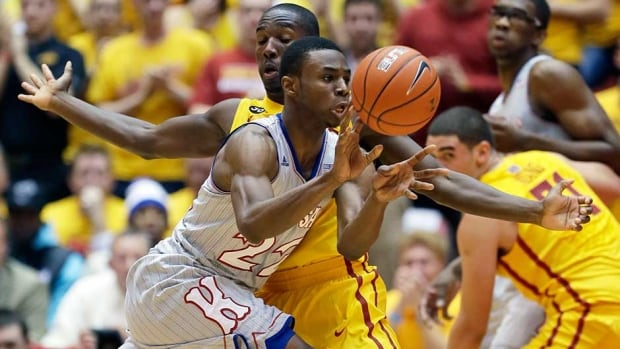 Kansas guard Andrew Wiggins drained 17 points and 19 rebounds against Iowa State on Monday in Ames, Iowa.