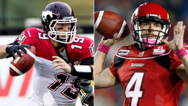 """From left, Stampeders quarterbacks Bo Levi Mitchell and Drew Tate have signed contract extensions. """"Their decision to sign extensions ...  gives us great long-term stability at what is obviously a key position,"""" says head coach and GM John Hufnagel."""