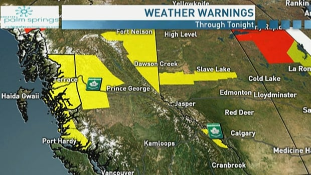 Wind and rain warnings for B.C., snowfall warnings for Alberta