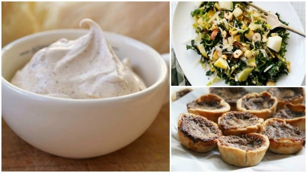 (Clockwise from left) Spreadable browned butter, browned Brussels sprouts and kale salad and butter tarts are three of Julie's butter recipes.