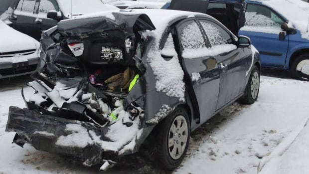 Thunder Bay police are looking for the driver of the pickup truck that hit this car while it was stopped at an intersection. The driver fled the scene.