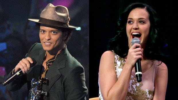 Bruno Mars (left) and Katy Perry (right) have both announced tour dates in Winnipeg this August.